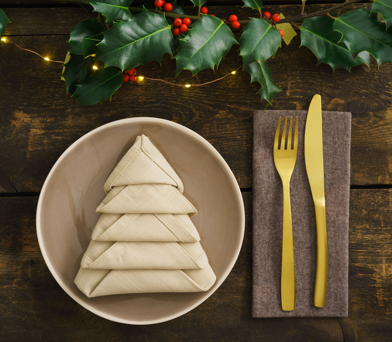 Plate With Christmas Tree Napkin